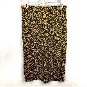 LuLaRoe Pencil Skirt Fall Gold Leaf Gray XS